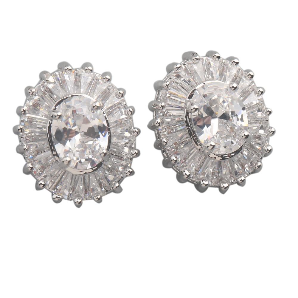 Smart  White Stone 6*8mm Semi-precious Silver Cool For Womens Stud Earrings ED0209