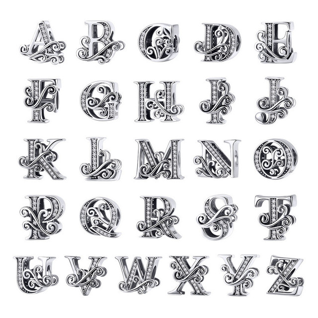 BAMOER 2019 NEW 925 Sterling Silver Vintage A to Z Clear CZ 26 Letter Alphabet Bead Charms Fit Bracelets DIY Jewelry BSC030
