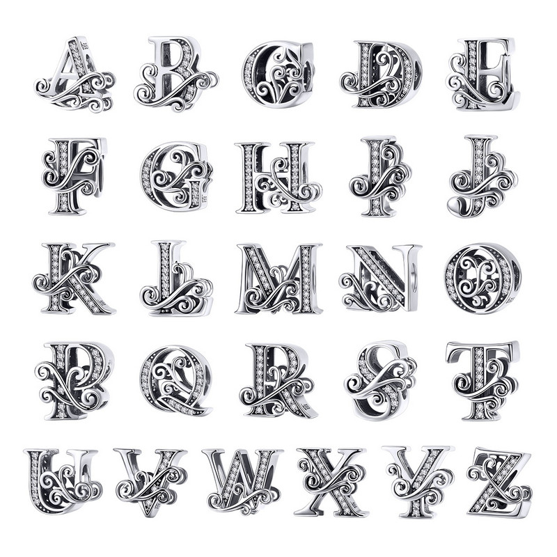 BAMOER 2019 NEW 925 Sterling Silver Vintage A to Z Clear CZ 26 Letter Alphabet Bead Charms Fit Bracelets DIY Jewelry BSC030(China)