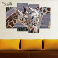 4 sztuk/zestaw Abstrakcyjne Afrykański Krajobraz Zwierząt Żyrafa sylwetka Obraz Nowoczesny Wystrój Domu Ściany Sztuki Malowania Na Płótnie Zestaw