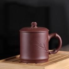 PINNY 440ml Purple Clay Bamboo Festival Tea Mug Yixing China Drinkware Natural Ore Sand Mugs Traditional Chinese Teacup