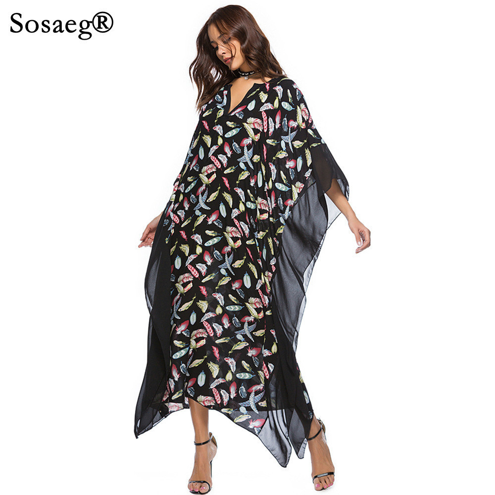 Sosaeg 2018 spring new women's V collar bats print women summer long party casual loose dress vintage fashion beach clothing