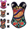 Sexy Rhinestone espartilho e corselets Corpete Overbust Corset Top Corsets Gothic Bustier Push Up Body Shaper