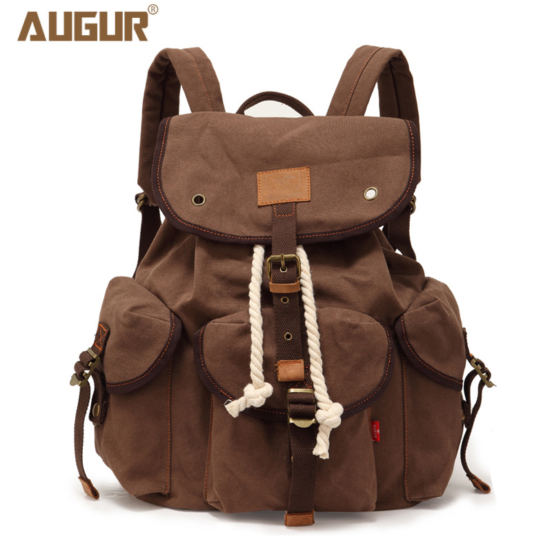 2018 AUGUR New Fashion Men's Backpack large capacity travel backpack bag vintage canvas back to school bag men's travel bags augur new european fashion retro style men canvas bag packs male female couple large capacity travel computer backpack homme