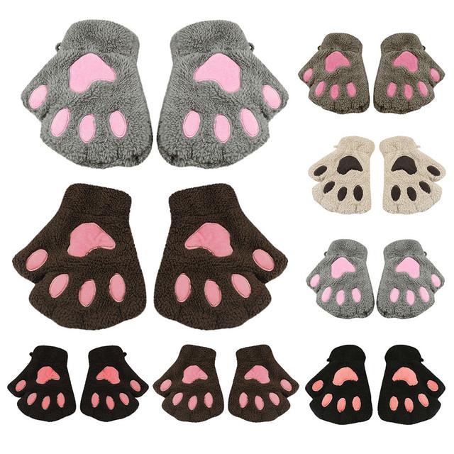 Winter Gloves Kids Fashion Cute Cartoon Girl Cat Claw Paw Fingerless Winter Warmer Half Finger Gloves Mitten c