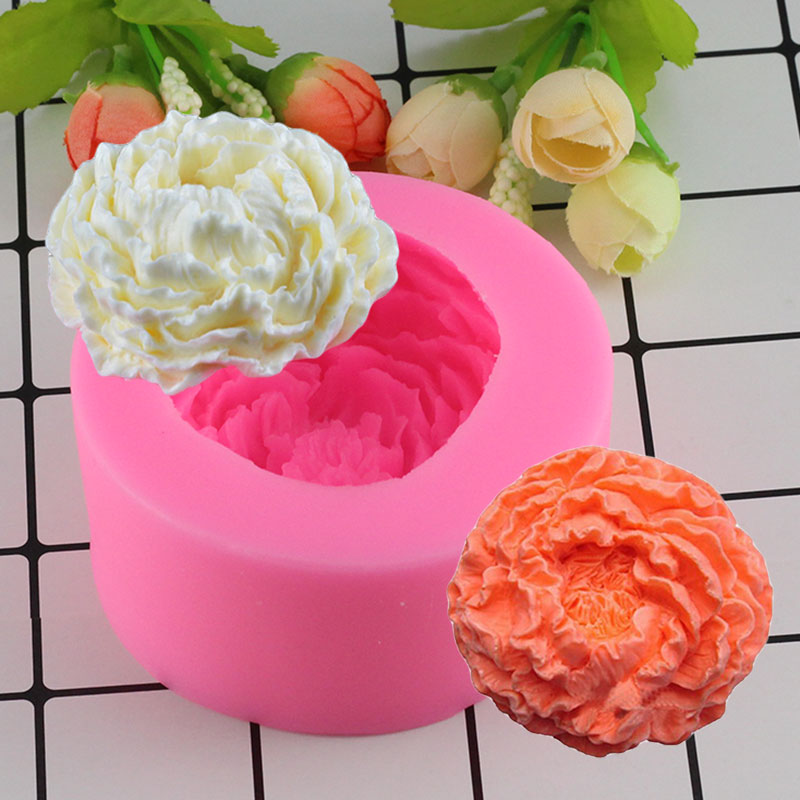 Mujiang 3D Peony Flower Silicone Soap Molds Candle Resin Clay Mould Sugarcraft Cake Decorating Tools Fondant Chocolate Stencil