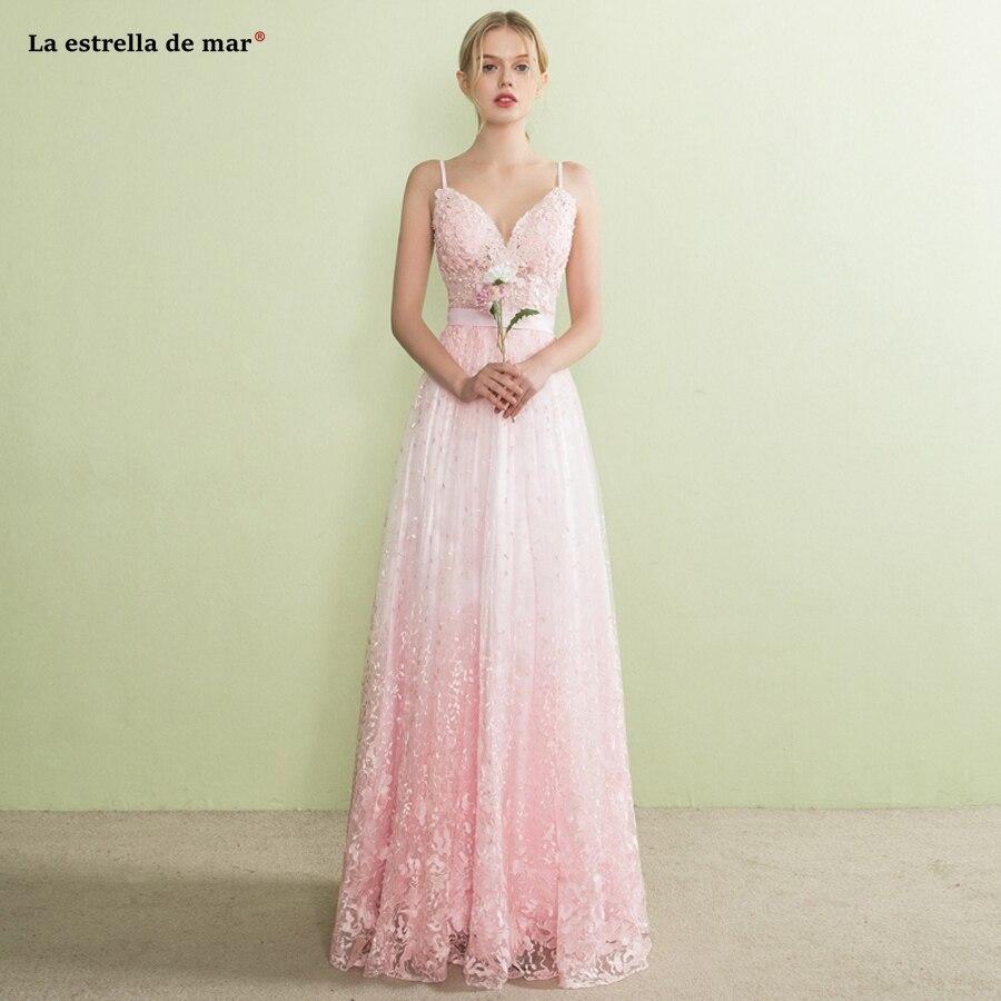 Vestido madrinha nouvelle sexy col en V bretelles Spaghetti une ligne dentelle dégradé rose bohème demoiselle d'honneur robe longue grande taille