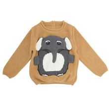 1-7year Sweater For Boys Cartoon Elephant Kids Jumper knitted Baby Boy Wool Clothes