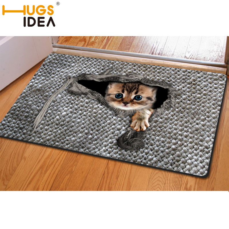 Hugsidea Cute Cat Bird Print Carpet Gray Woven Area Rugs And Carpets For Living Room Bedroom Funny Entrance Doormat Tapete