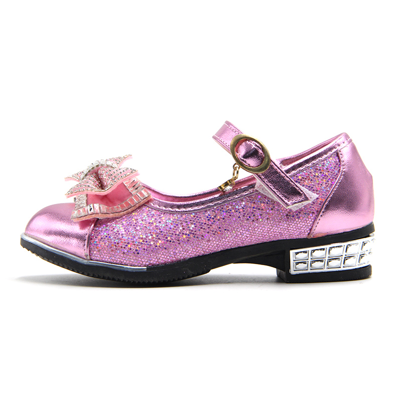 Weweya Children Princess PU Leather Sequins Shoes Flower Girl Wedding Party  Kids Dress Shoes for Girls Pink   Silver  Golden-in Leather Shoes from  Mother ... ab541f9e778c