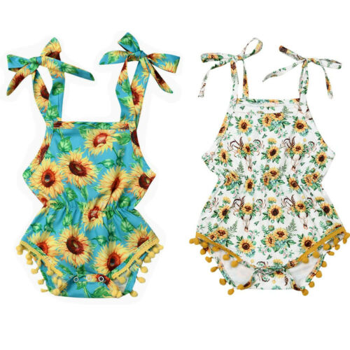 Newborn Infant Baby Girl Dasiy Floral Clothes Strap Romper Summer Holiday Outfit
