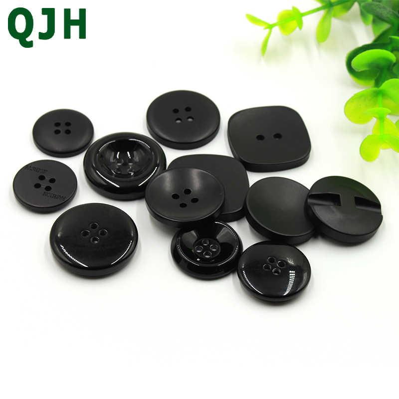 Calidad 2 botones de agujero negro con círculos Talladas 25mm 40L 25 piezas