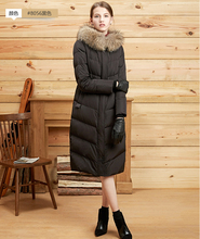 2017 Euope Fashion Plus Size Winter Women Duck Down Long Jacket Coat with a Large Fur Collar Winter Down Parka Coats mujer mex