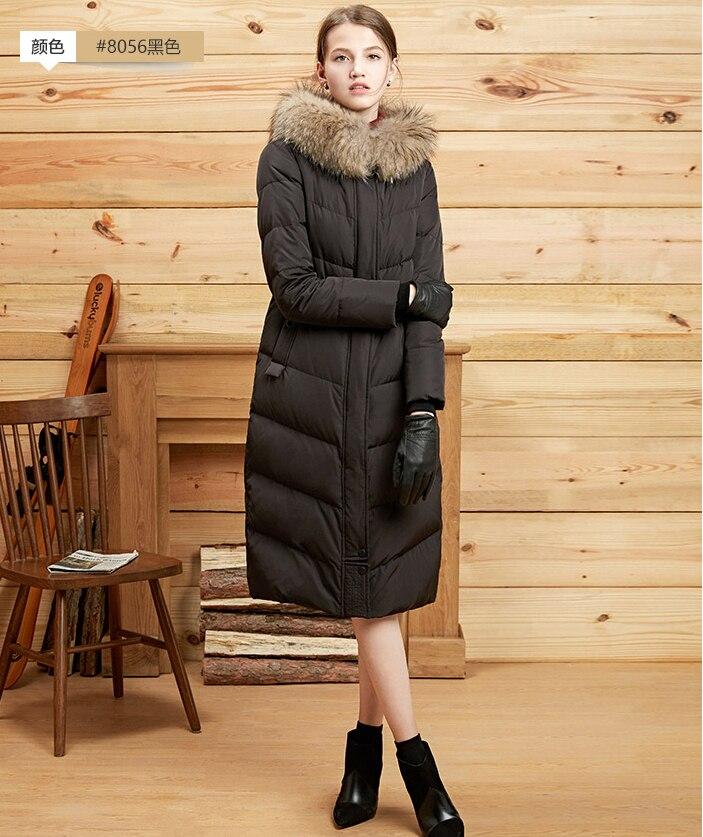 2017 Euope mode grande taille hiver femmes duvet de canard Long veste manteau avec un grand col de fourrure hiver vers le bas Parka manteaux mujer mex