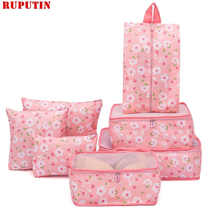 RUPUTIN 7Pcs/set Travel Organizer Bag Clothes Tidy Storage Bag Luggage Suitcase Pouch Cosmetics Underwear Box Travel Accessories