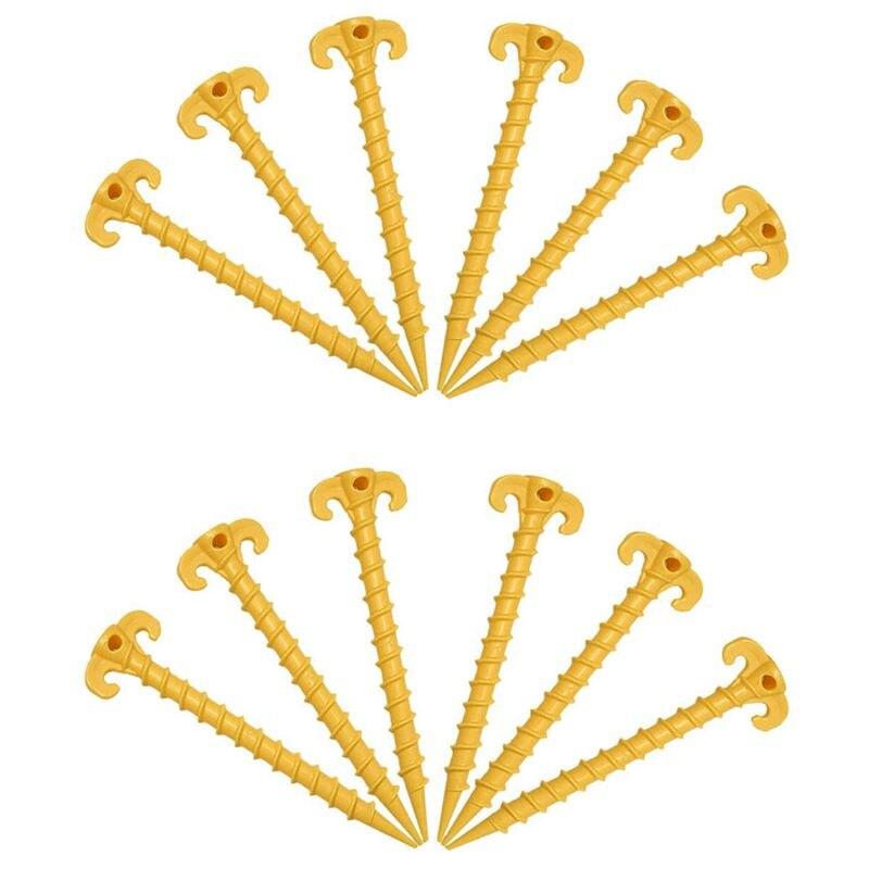 12 Pack Outdoor Zelt Stakes, schraube Spirale Zelt Peg Nagel Boden Anker Pegs Heavy Duty Schraube Stil-20 cm/7,9 zoll (Gelb)