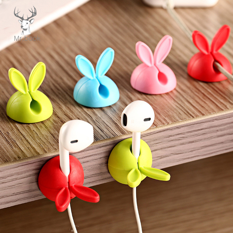 4pcs/set Winder Wrap Cord Cable Storage Desk Set Rabbit Shaped Wire Clip Organizer Space Saving Desk Accessories Office Supplies