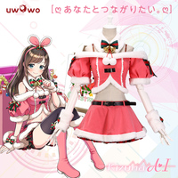 UWOWO Youtuber Kizuna AI Cosplay Costume AI Channel Outfit Costume Christmas Women Christmas Costume Cosplay Virtual Youtuber