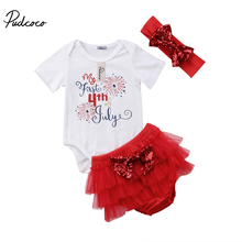 3Pcs My First 4th July Newborn Infant Baby Girl Sequins Romper Tops+Bow Tutu Skirted Shorts Headband Outfits Clothes Set 0-18M