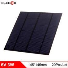 ELEGEEK 20Pcs/Lot Polycrystalline 3W 6V Mini Solar Panel 145*145mm 500mAh DIY Solar Panel Cell Battery Module for Education