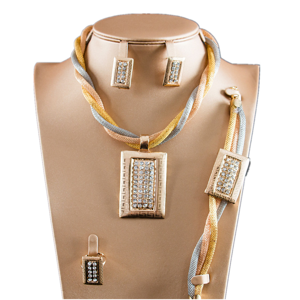Dealky Factory Price African Fashion Jewelry Sets Gold Plating Women 4 Pcs Necklace  Set Latest for Party Gift Wedding-in Jewelry Sets from Jewelry ... 64088558e91d