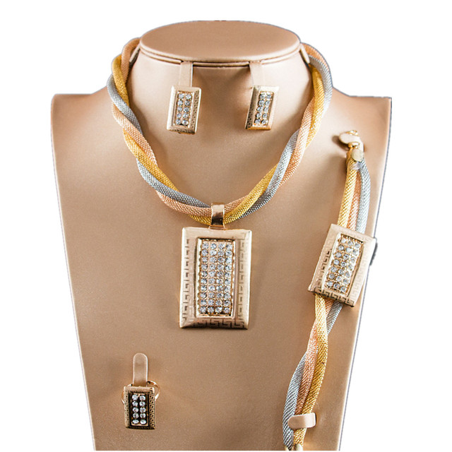 US $17 52 |Dealky Factory Price African Fashion Jewelry Sets Gold Plating  Women 4 Pcs Necklace Set Latest for Party Gift Wedding-in Jewelry Sets from