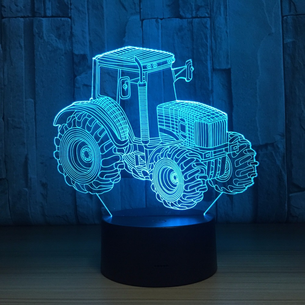 Farm Tractor 3D LED Lamp Deco Light Automobile Shape USB Charge Touch Switch Lamp 7 Colorful Kids Night Light For New Year Gift star wars desk 3d lamp led night light usb skull colorful acrylic kid baby small lamp for deco innovative christmas gift present