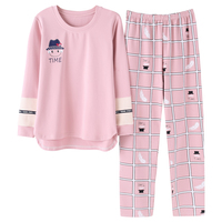 2019 Spring Home Couple Lounge Gift Pajamas Sets Women Print Cotton Carton Fashion Men Long Sleeve Sleepwear Suit 2 piece Sexy