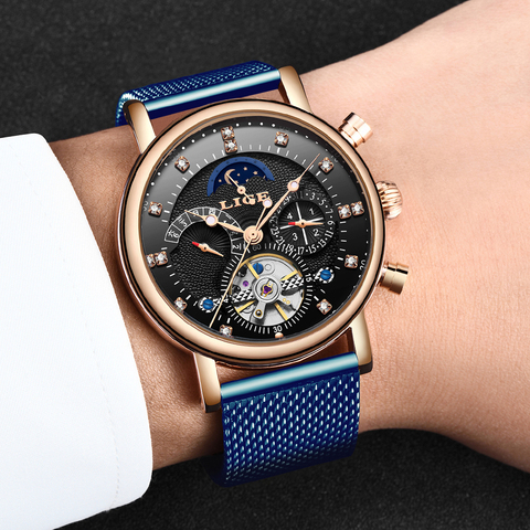 LIGE 2019 business watch men Automatic Luminous clock men Tourbillon waterproof Mechanical watch top brand relogio masculino Multan