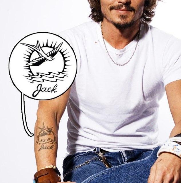 Captain Jack Pirates Of The Caribbean Bird Temporary Tattoo Sticker