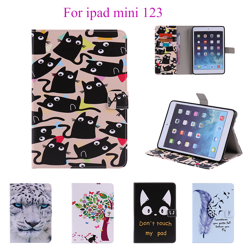 Beautiful Painted Flip Leather Case For Apple iPad Mini 123 Cover Magnetic smart Card Sl ...