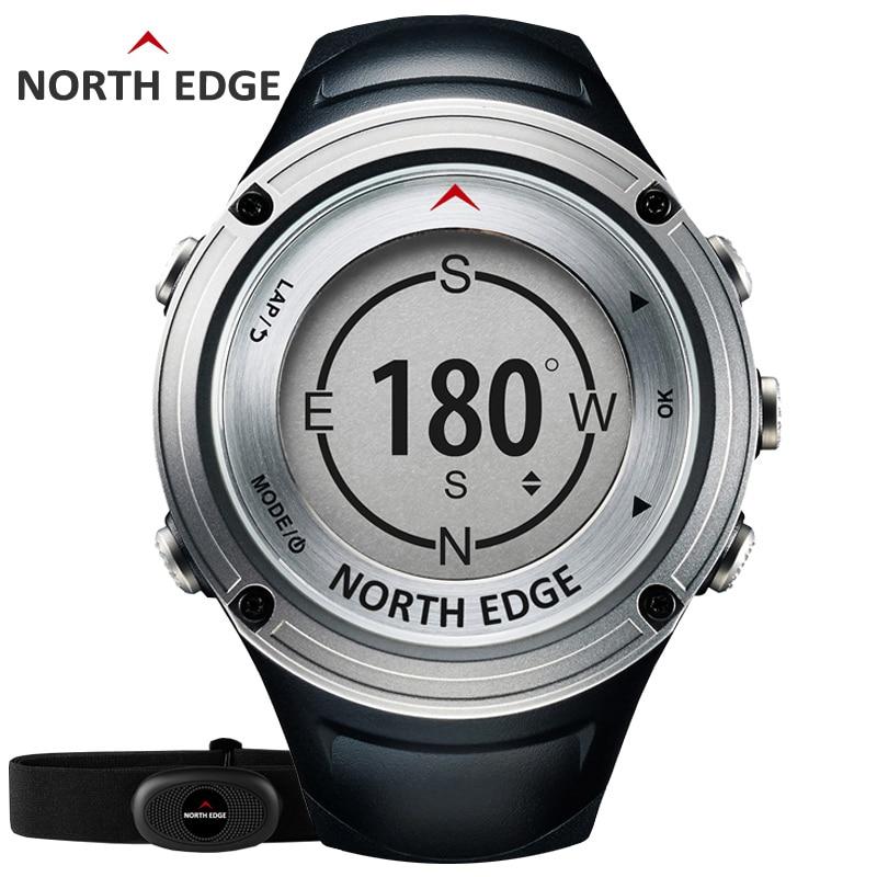 NORTE dos homens BORDA GPS Freqüência Cardíaca Esportes relógio Digital relógios resistente à Água militar Altímetro Barômetro Bússola horas de funcionamento