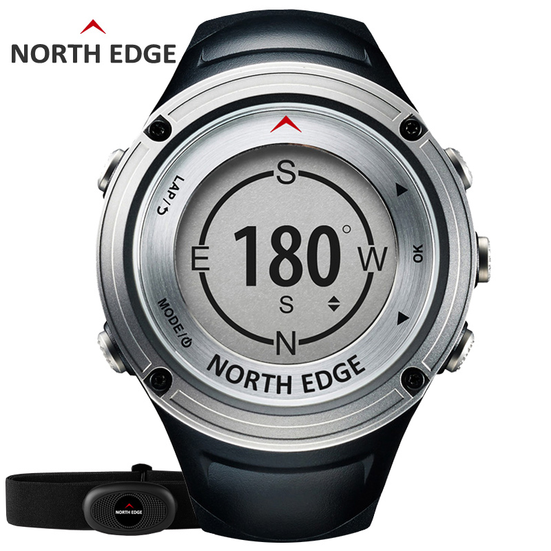 NORTH EDGE Men's GPS Sports watch Digital watches Water resistant military Heart Rate Altimeter Barometer Compass hours running