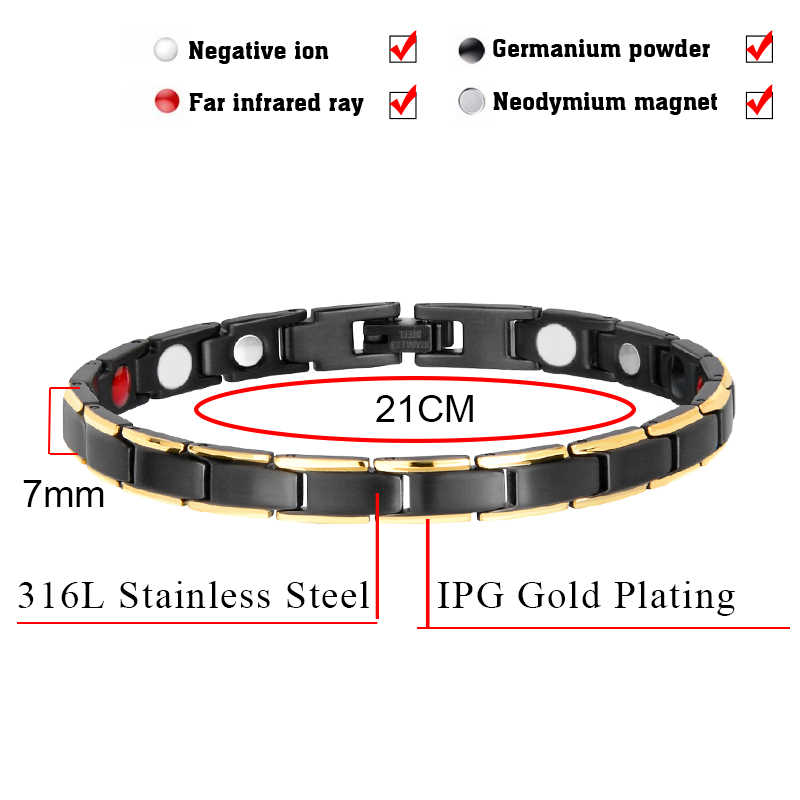 Hottime 4 in 1 Magnetic New Fashion Lovers' Jewelry Black Gold Titanium Steel Bracelet For Women And Men Never Fade Top-Quality