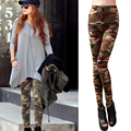 Fashion Cool Graffiti Style Printed Camouflage Leggings Autumn Long Stretch Army Cotton Leggings For Girls