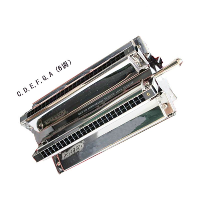 Easttop 24 Holes Wheel-shaped Harmonica C D E F G A Six Tone in one Senior Tremolo Harmonica Metal Mouth OganMusical Instrument kaine z k2820 28 hole tremolo harmonica c major music education instrument