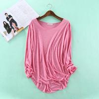 2016 Autumn Fitness New Long Sleeve T Shirt Plus Size Loose Model Women T Shirt Cotton