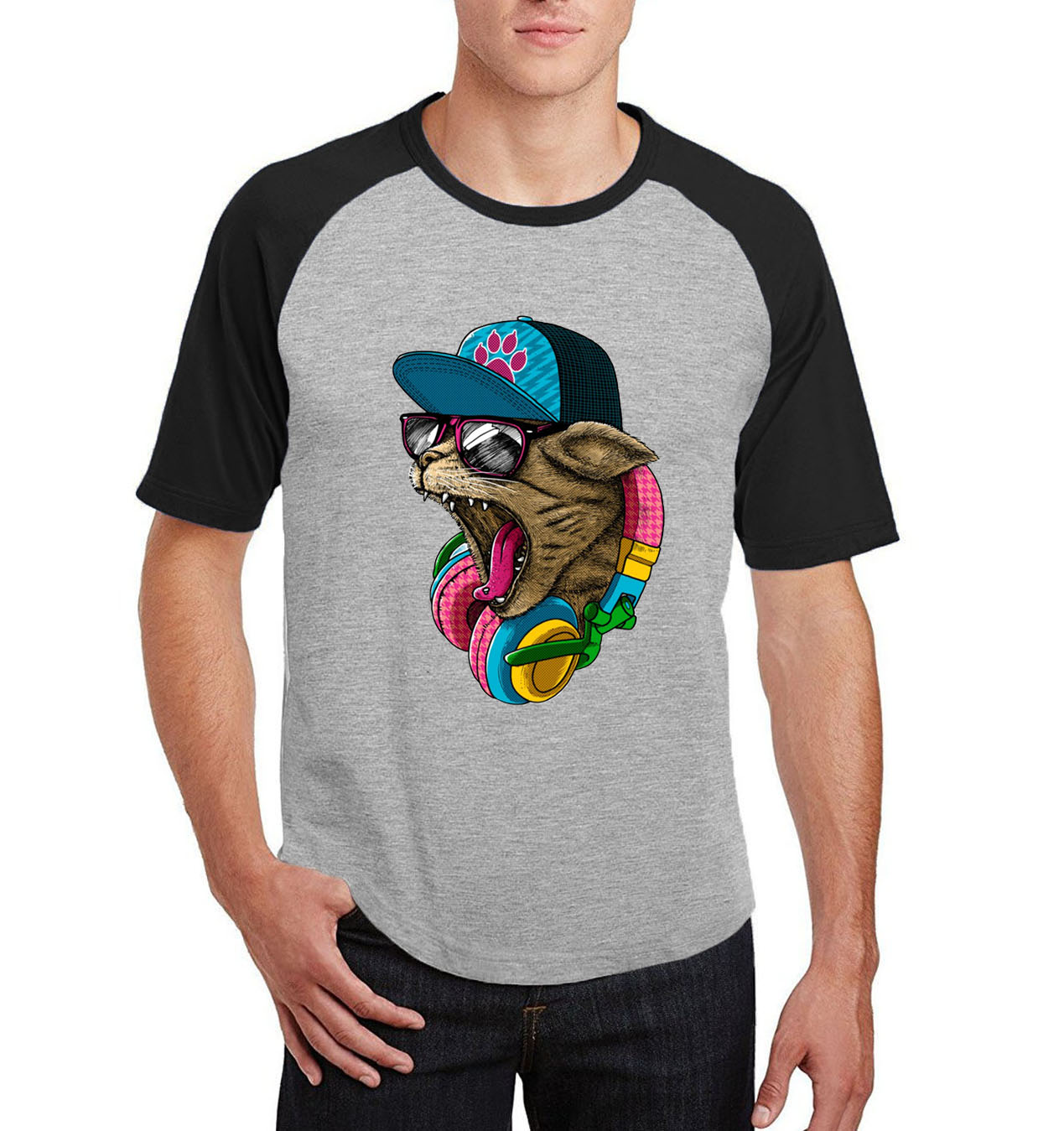2017 Men's hot sale t shirts raglan short sleeve t-shirt mens summer kpop hip-hop camisetas o-neck DJ Cat casual Tee shirt homme