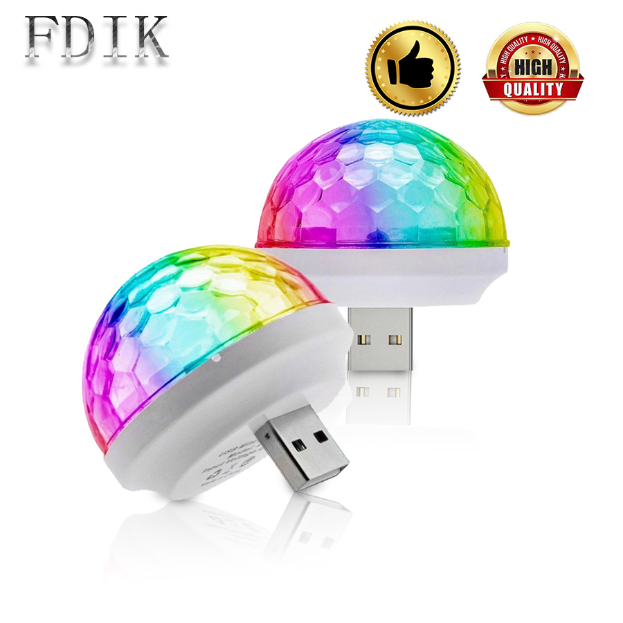DINGDIAN LED USB Disco Bulb Multicolor DJ Atmosphere Light Bulbs Small Magic Ball Bulb 4W DC 5V LED Light Stage Lighting Effect