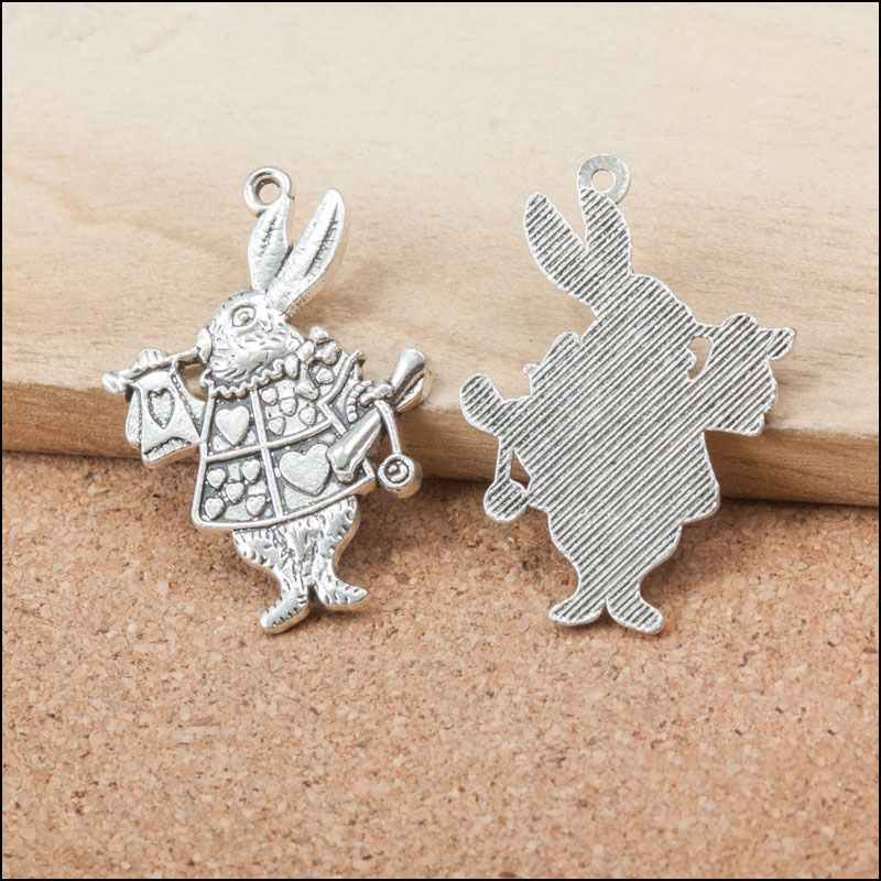 Charms Forceful Factory Price 3 Pieces/lot 36mm*25mm Antique Silver Plated Alice In Thr Wonderland Charm Rabbit Charm Animal For Jewelry Making Jewelry Sets & More