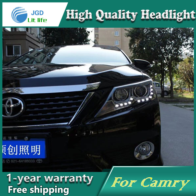 high quality Car Styling for Toyota Camry 2012-2013 Headlights LED Headlight DRL Lens Double Beam HID Xenon Car Accessories for toyota camry led headlights car styling 2015 for camry xenon headlights led drl light guide bifocal lens headlight light