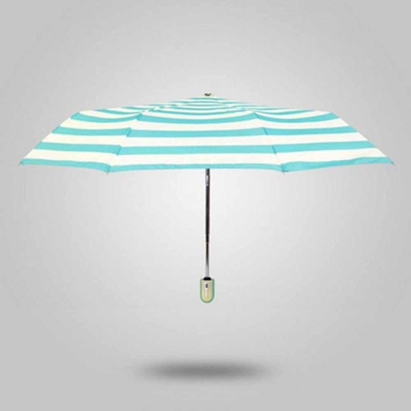 1pc Ultra-light navy stripe umbrella full automatic Vinyl umbrellas sun ... aa791bf3c17