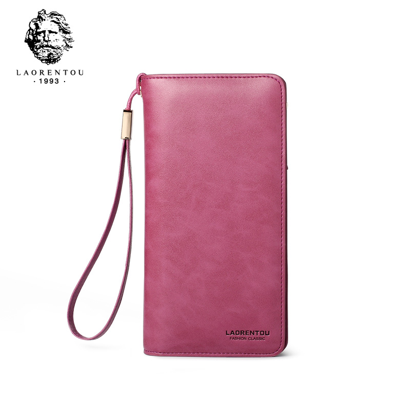 LAORENTOU Couple Wallets Chic Cowhide Leather Purse Long Wristlet Wallet for Lady Large Capacity Card Holder Zipper Wallet
