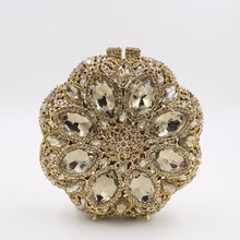 Fashion Gold Crystal Clutch Bags Handbags Women Famous Brands Wedding Purses for Bride Evening Bags with Luxury Crystal Handmade
