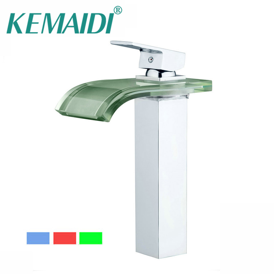 KEMAIDI LED Faucet Bathroom Basin Faucet Brass Chromed LED Waterfall Taps Water Power Basin Led Tap Mixer 3 Colors Change Tap free shipping luxury three piece bathroom faucet brass chromed basin tap wall mounted waterfall faucet lt 303