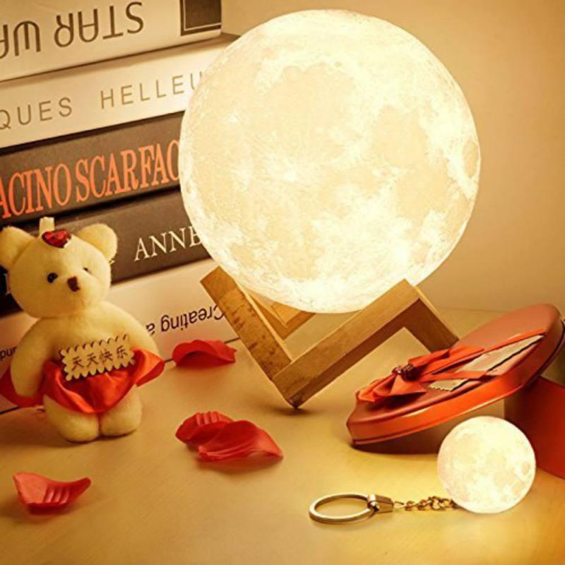 Neue Wiederaufladbare LED Nachtlicht Mond Lampe 3D Drucken Moonlight Luna Schlafzimmer Wohnkultur Touch Schalter Neue Jahr Geschenk Für baby
