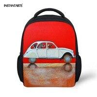 Instantarts 소년을위한 학교 가방 귀여운 강아지 자동차 인쇄 유치원 어린이 미니 배낭 어린이 schoolbags 어깨 가방 12 인치