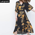 TANGNEST Vintage Printing Kimono Belted Chiffon Dress 2017 Fashion Casual V Neck Beach Wear Elegant Long Loose Dresses WQS1960