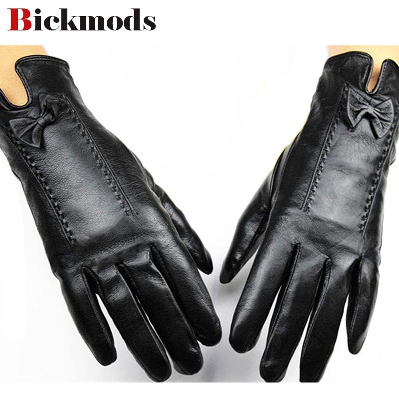 2017 puntos femeninos Eldiven guantes de cuero del dedo forro de piel de oveja otoño e invierno protección contra la intemperie cubierta protectora envío