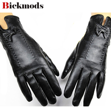 Female points finger leather gloves cashmere lining sheepskin autumn and winter weatherization protective cover shipping